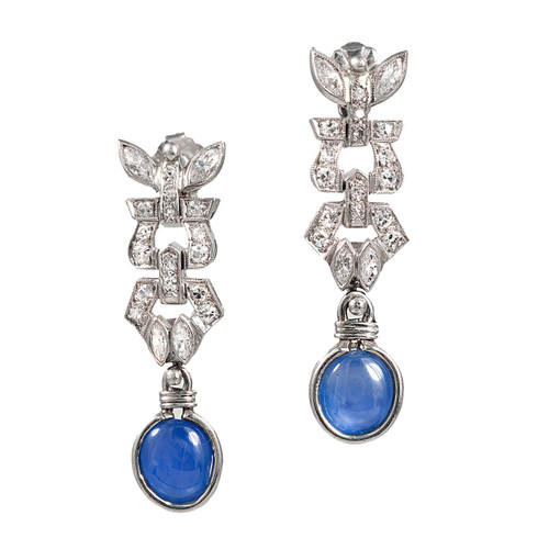 Estate 1920s Deco Platinum Round Diamond, Cabochon Sapphire Pierced Earrings