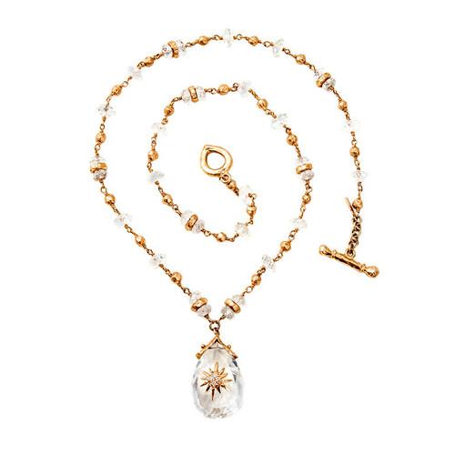 Talisman 12.00 Carat Quartz Gold Bead Pendant Necklace
