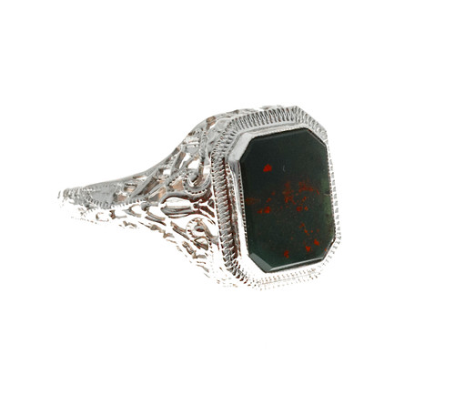 1940 Art Deco 14k White Gold Bloodstone Filigree Ring
