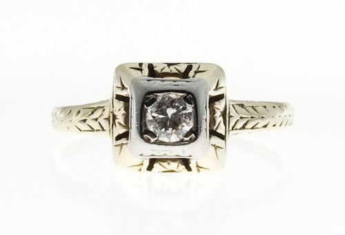 Antique Art Deco 14k yellow gold 18k white gold ring .16ct diamond ring Circa 1930
