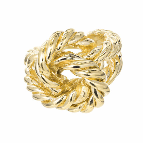 1950 Heavy Solid 14k Twisted Wire Knot Cocktail Ring