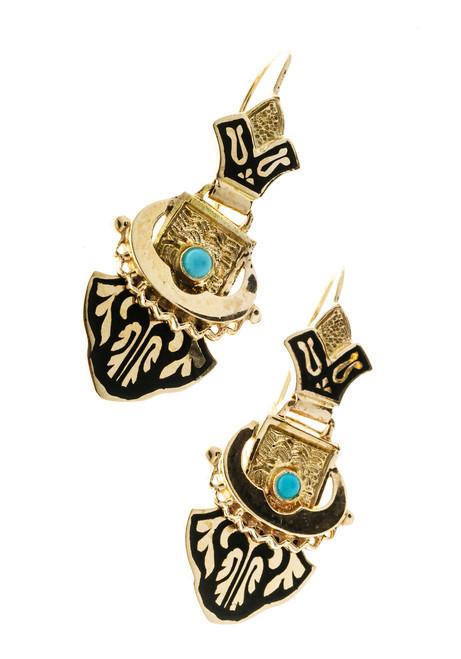 Victorian Revival 14k Yellow Gold Blue Enamel Turquoise Earrings