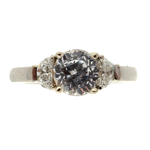 Art Deco  1.35 Carat Sapphire Diamond White Gold Diamond Ring