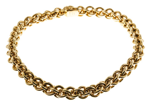 Vintage Giovanni + Marchisio Italian 18 inch 18k Gold Woven Link Necklace