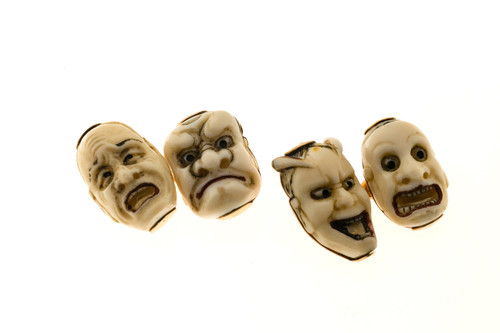 1930's 14k Four Faces Carved Bone Cufflinks