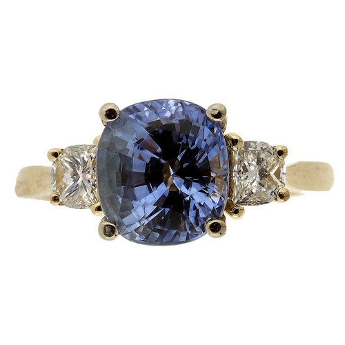 2.22 Carat  Blue Sapphire Diamond Yellow Gold Engagement Ring