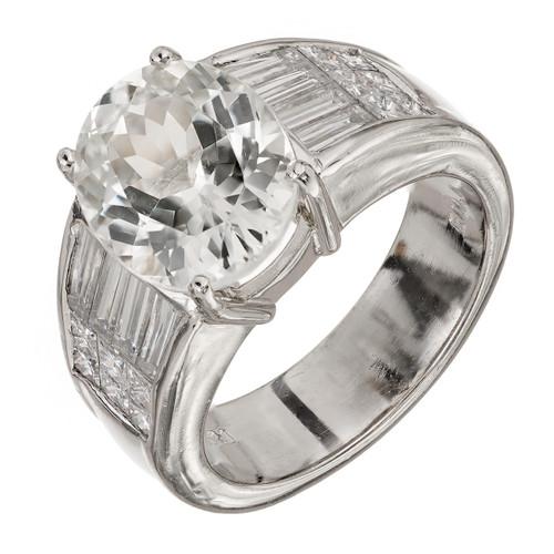 Vintage Rare 5.89ct White, Near Colorless Natural Sapphire Platinum Diamond engagement ring