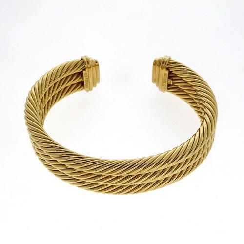 David Yurman Yellow Gold 3 Row Cable  Bangle Bracelet