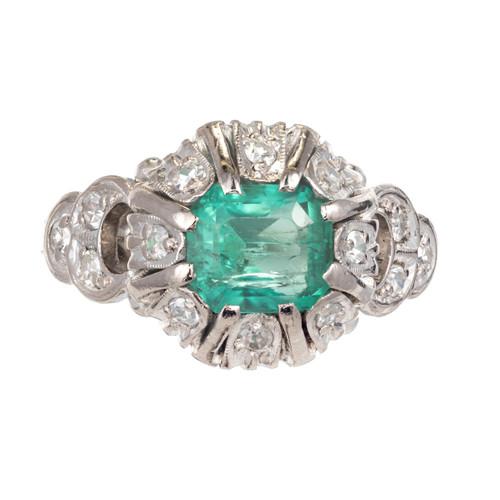 .90ct Bright Green Emerald.10ct Diamond Platinum Ring. 1900