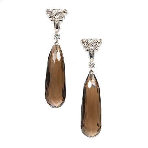Vintage 1950 14k White Gold Diamond Dangle Earrings with .49cts Smoky Quartz Briolettes