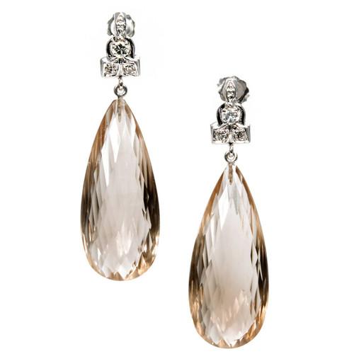 Vintage 1950 Natural Briolette Smoky Quartz 50.61 ct 14k White Gold Diamond Dangle Earrings
