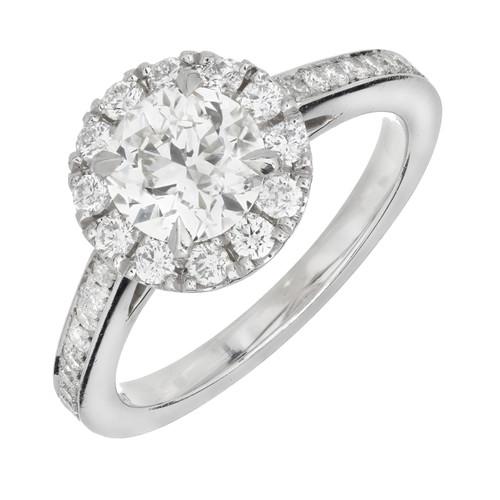 Peter Suchy 1.24  Carat Diamond Platinum Halo Engagement Ring