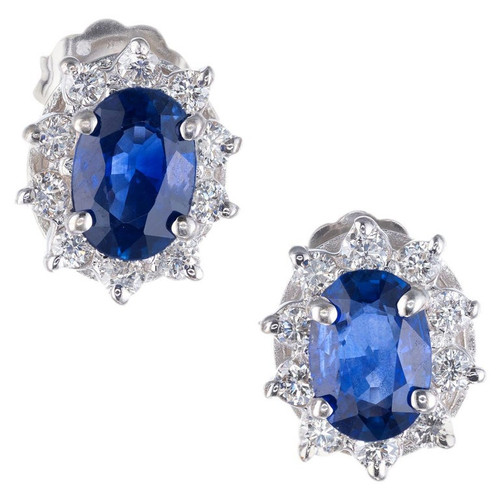 1.50 Carat Oval Royal Blue Sapphire Diamond White Gold Earrings
