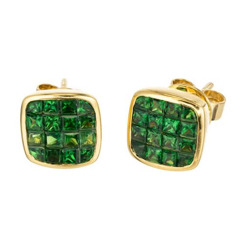 1.62ct Green Square Tsavorite Garnet 18k Yellow Gold Stud Earrings