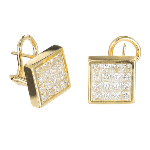 2.77 Color Princess Cut Diamond Gold Square Clip Post Stud Earrings