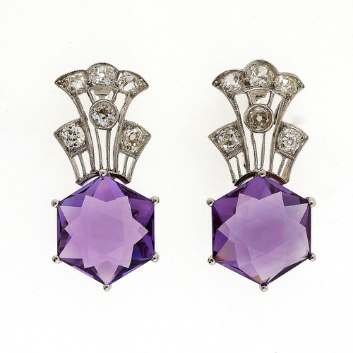 Art Deco 11.50 Carat Amethyst Diamond Platinum Earrings