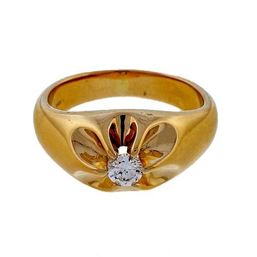 Vintage Men's  14k Yellow Gold .25.0ct 1950 Diamond Ring