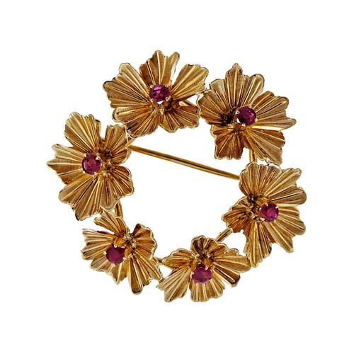 Vintage Estate 18k Yellow Gold Ruby Circle Flower Pin