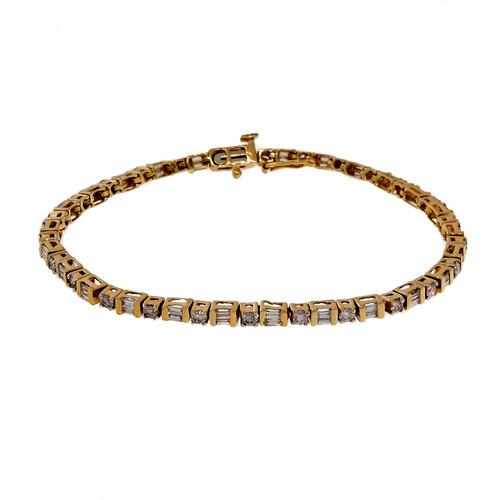 Estate Diamond Bracelet Round Full Cut Baguette 2.75ct 14k Yellow Gold