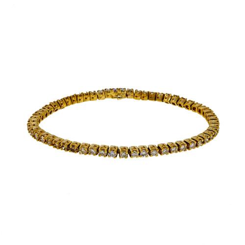 Vintage 1980 4.06ct Fine Diamond 18k Yellow Gold Tennis Bracelet