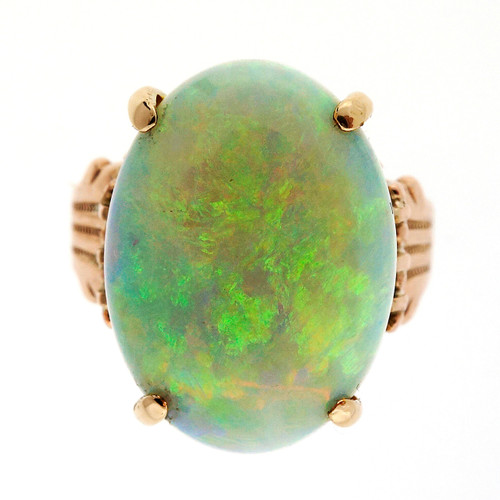 Victorian 5.00 Carat Greenish Blue Opal Rose Gold Ring