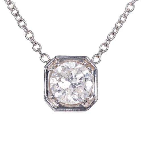 Peter Suchy Transitional Cut Diamond 18k White Gold Pendant