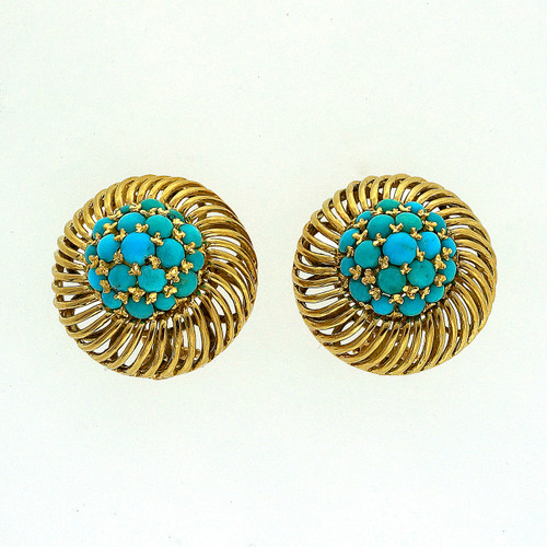 Persian Turquoise Yellow Gold Clip Post Earrings