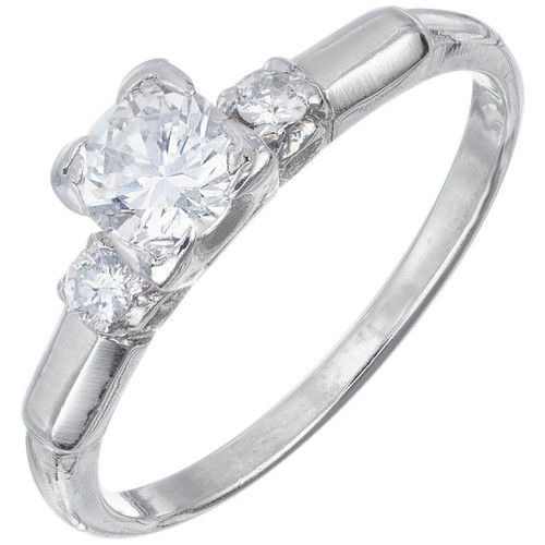 .35 Carat Diamond Art Deco Platinum Three-Stone Engagement Ring