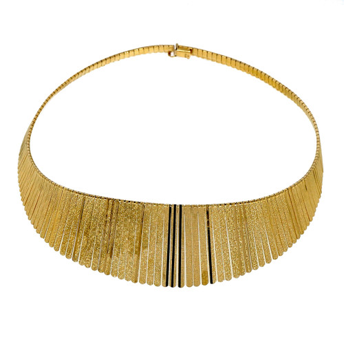 1970 Vintage Italian 14k Yellow Gold Cleopatra Style Graduated Necklace