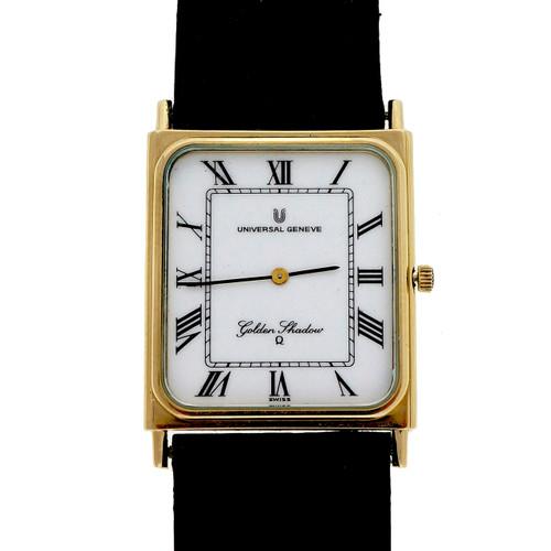 Universal Geneve 14k Gold Golden Shadow Strap Watch Ultra Thin Quartz