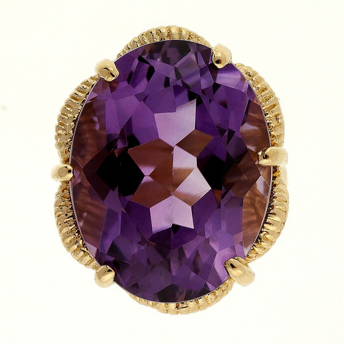 16.00 Carat Purple Amethyst  Yellow Gold Ring