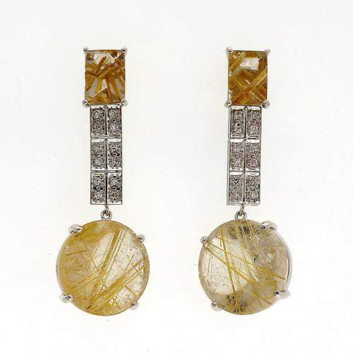 Art Deco 20.05 Carat  Golden Rutile Quartz White Gold Dangle Earrings