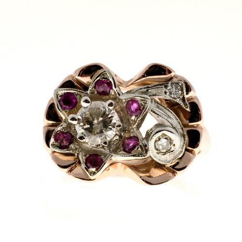 Vintage Retro Flower Ring Ruby Diamond 14k Pink Gold 1935