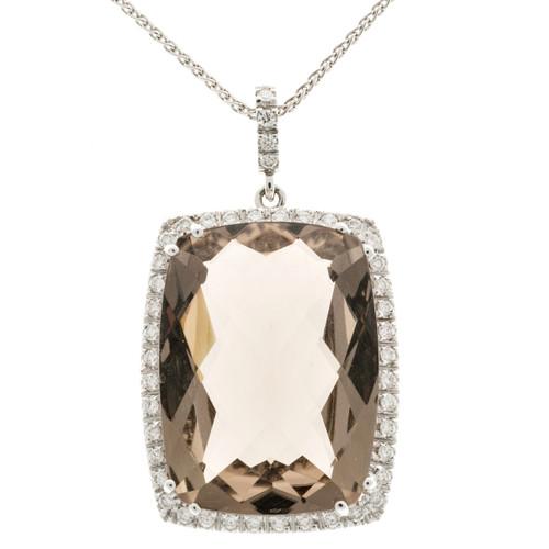 Vintage 24.00ct Smoky Cushion Quartz 18k White Gold Diamond Necklace