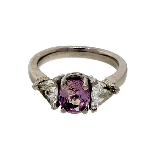 Rare Light Pink Natural 1.45ct Sapphire Platinum Ring 1.50ct Trilliant Diamond