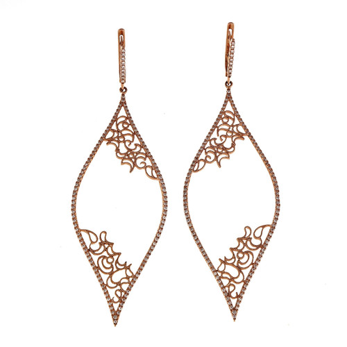 .71 Carat Diamond Micro Pave Rose Gold Dangle Earrings