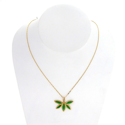 Jadeite Jade Yellow Gold Butterfly Pendant Necklace
