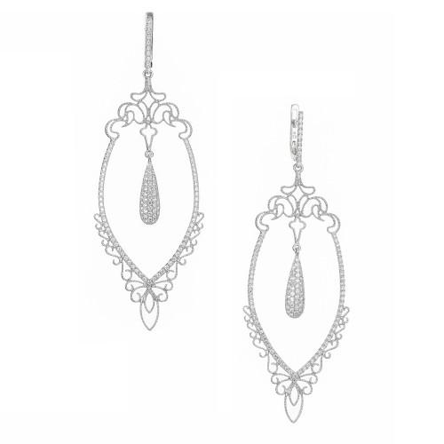 GB .96 Carat Diamond White Gold Long Dangle Chandelier Earrings