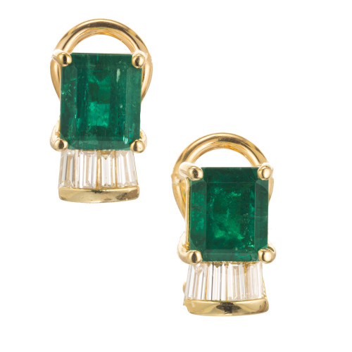 GIA  5.06ct Natural Color Emerald Diamond Clip Post Earrings