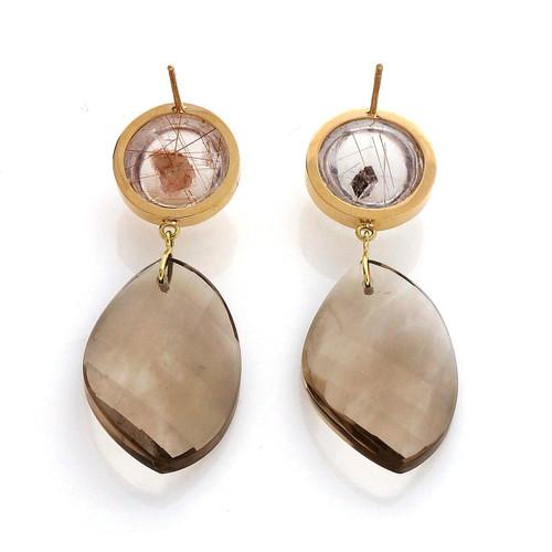 Peter Suchy 66.90 Carat Manifestor Smoky Quartz Yellow Gold Dangle Earrings