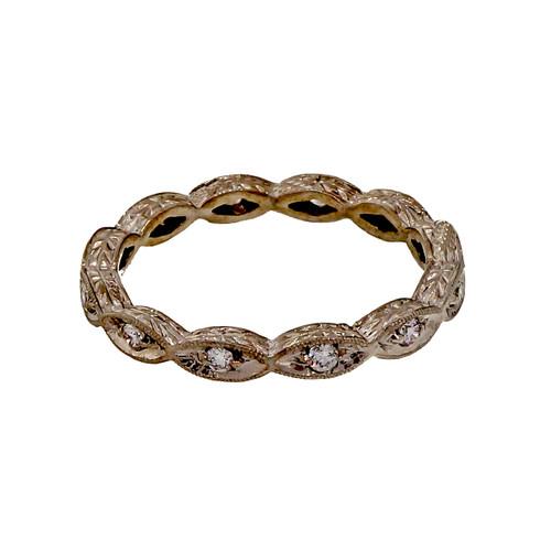 Art Deco Style PSD Platinum Wedding Band Ring .20ct Diamond Peter Suchy Designs