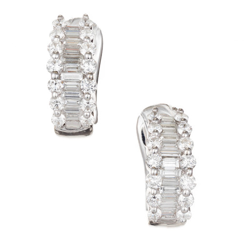Michaels Baguette 1.30cts Round Ideal Diamond 18k White Gold Hoop Earrings