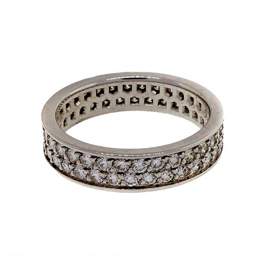 PSD 18k White Gold Flat 2 Row Common Bead Set 1.00ct Diamond Band Ring