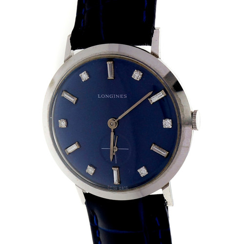 Diamond Dial 1960 14k White Gold Longines 1960 Blue Dial Strap Watch