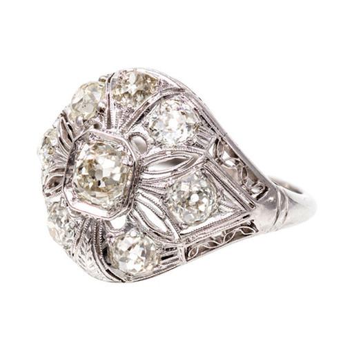 Art Deco .49 Carat Diamond Platinum Dome Ring