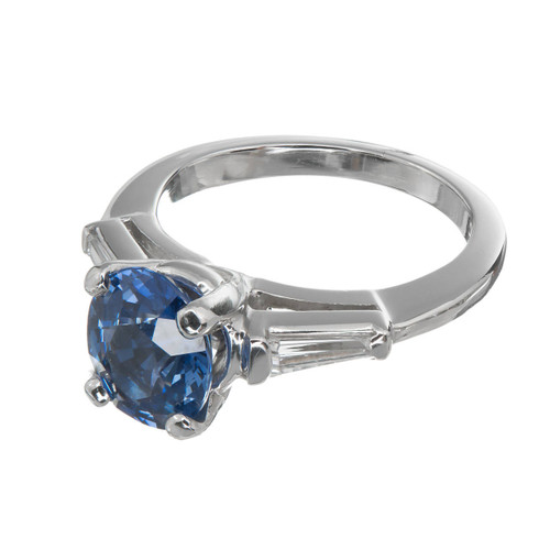 Estate 2.03ct Cornflower Blue 1950 Platinum Sapphire Diamond Engagement Ring