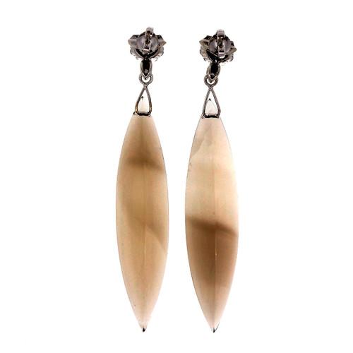 1950 Rare Marquise 83.50ct Smoky Quartz 14k White Gold Diamond Dangle Earrings <br><br><ul>