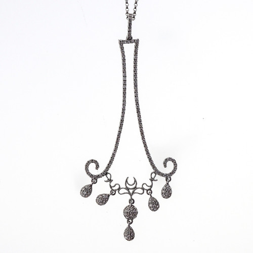 Art Deco Style Long Pave Diamond .55ct 14k White Gold Dangle Pendant