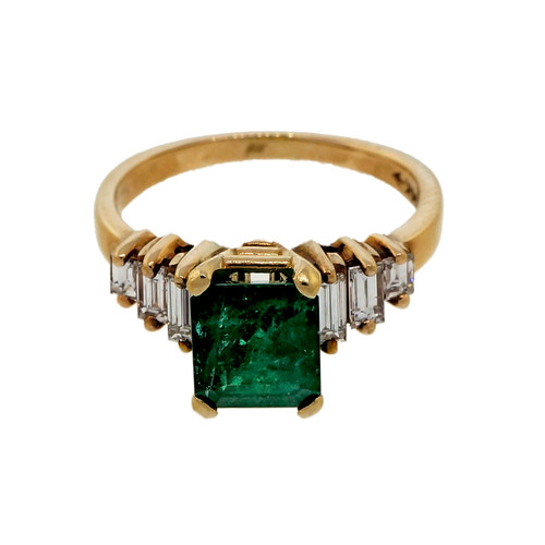 Estate 1960 1.50ct Emerald 14k Yellow Gold Baguette Diamond Ring