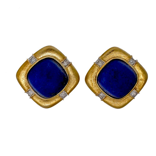 Vintage 1960 Natural Blue Lapis 14k Yellow Textured Gold Diamond Earrings